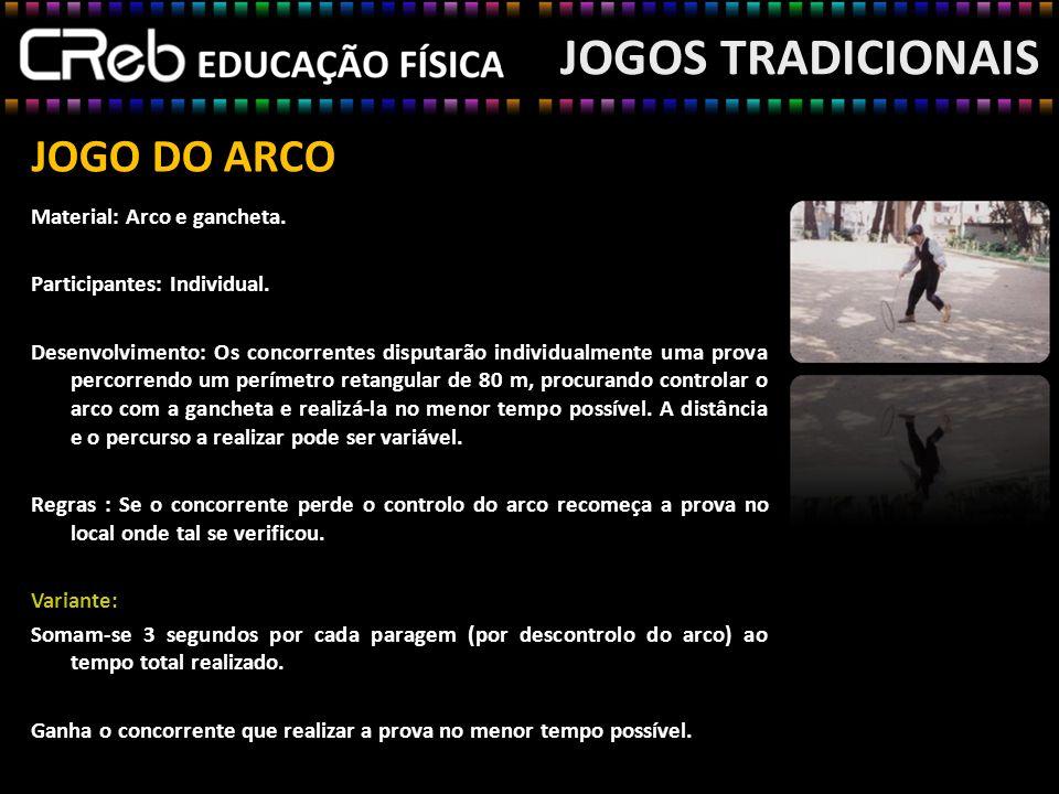 JOGOS TRADICIONAIS JOGO DO ARCO Material: Arco e gancheta.