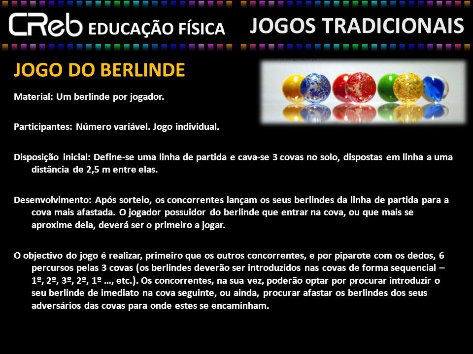 JOGOS TRADICIONAIS JOGO DO BERLINDE Material: Um berlinde por jogador.