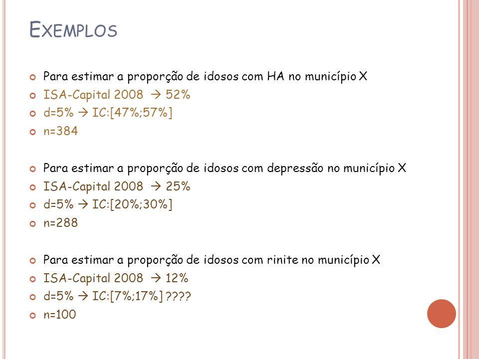 Exemplos Para estimar a proporção de idosos com HA no município X