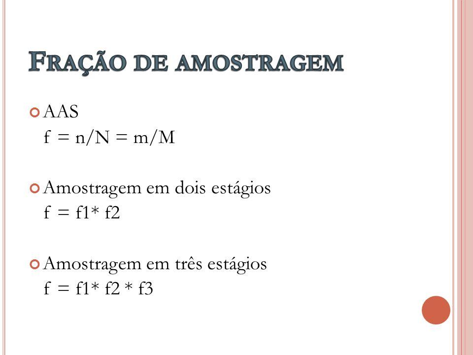 Fração de amostragem AAS f = n/N = m/M Amostragem em dois estágios
