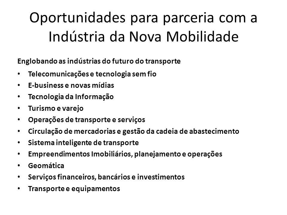 Oportunidades para parceria com a Indústria da Nova Mobilidade