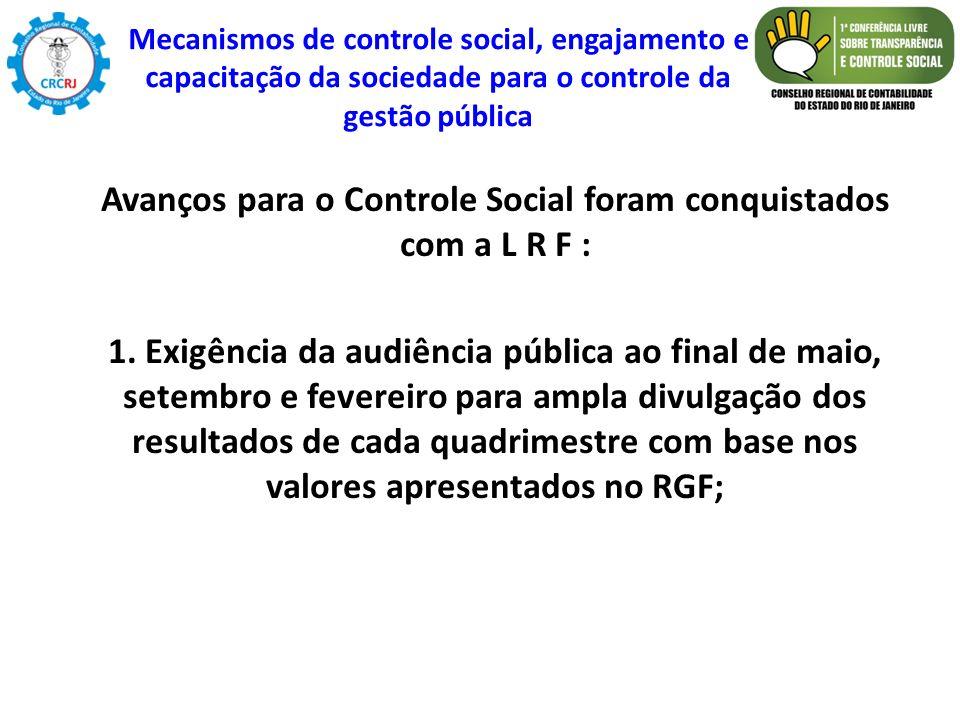 Avanços para o Controle Social foram conquistados com a L R F :