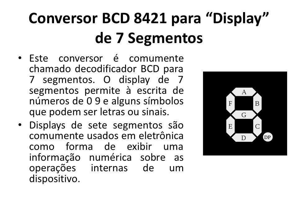 Conversor BCD 8421 para Display de 7 Segmentos