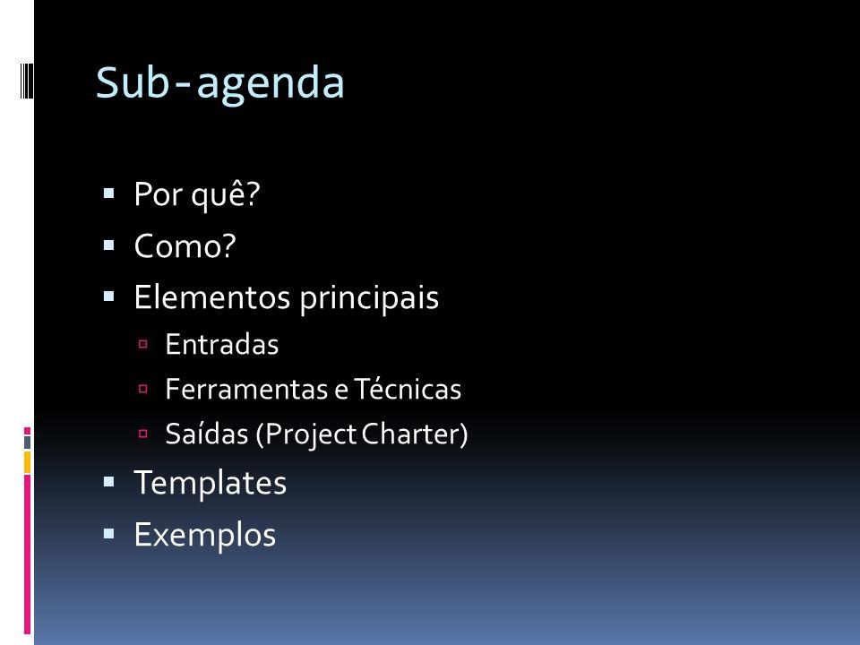 Sub-agenda Por quê Como Elementos principais Templates Exemplos