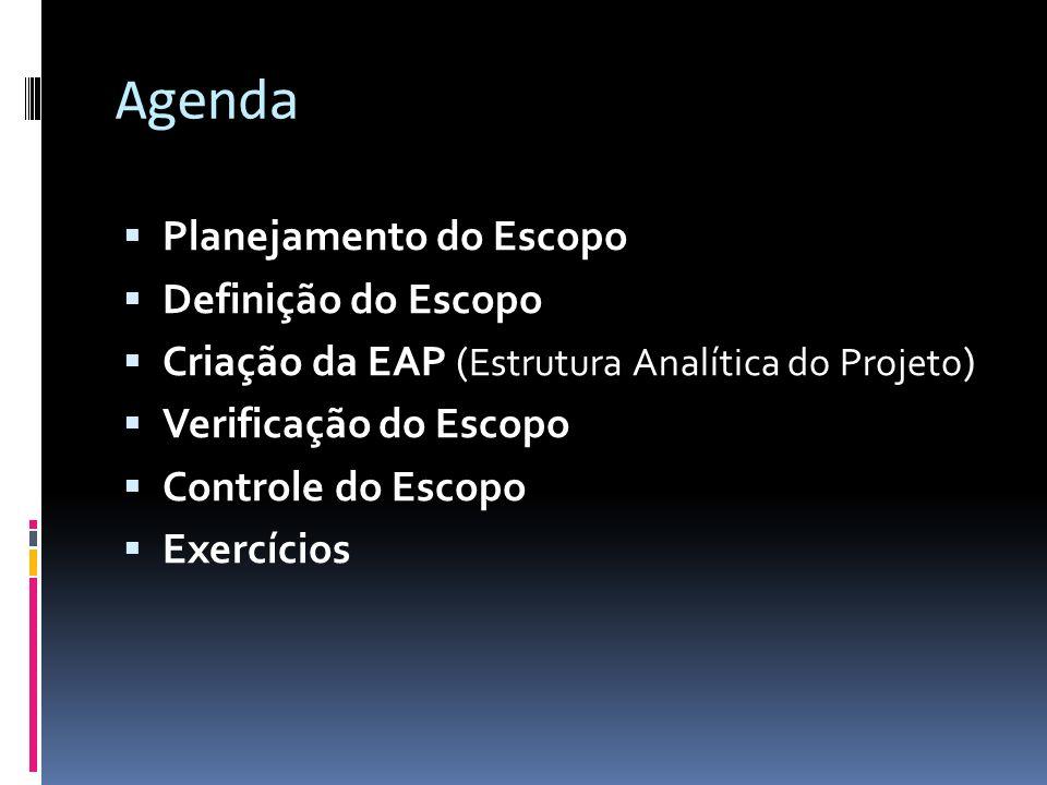 Agenda Planejamento do Escopo Definição do Escopo