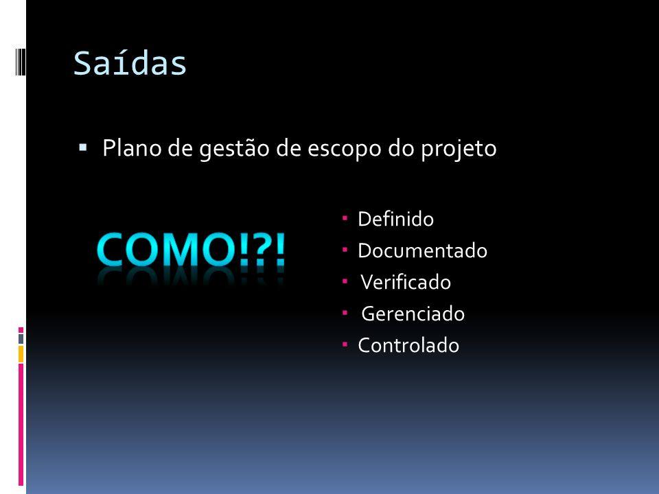 Como! ! Saídas Plano de gestão de escopo do projeto Definido