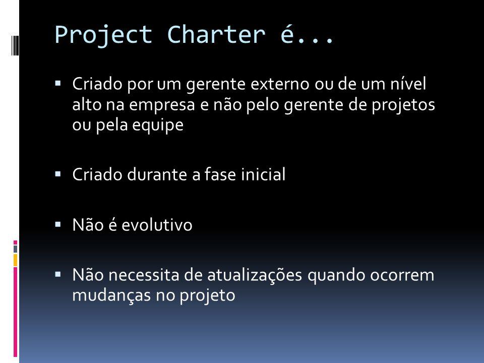 Project Charter é... Criado por um gerente externo ou de um nível alto na empresa e não pelo gerente de projetos ou pela equipe.