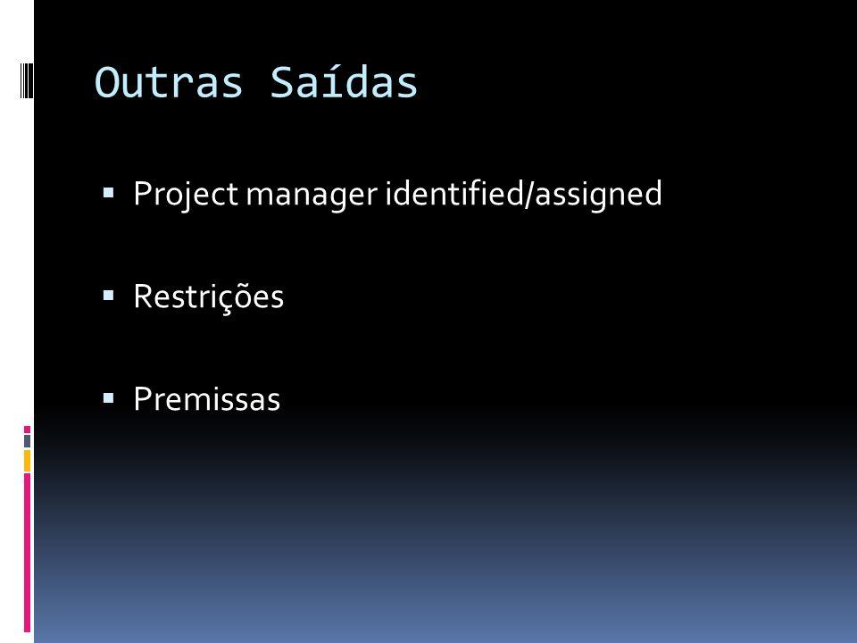 Outras Saídas Project manager identified/assigned Restrições Premissas