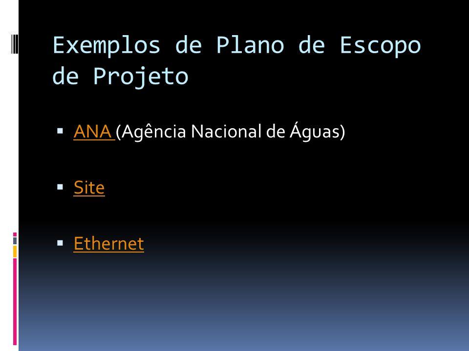 Exemplos de Plano de Escopo de Projeto