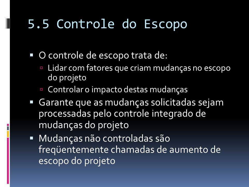 5.5 Controle do Escopo O controle de escopo trata de: