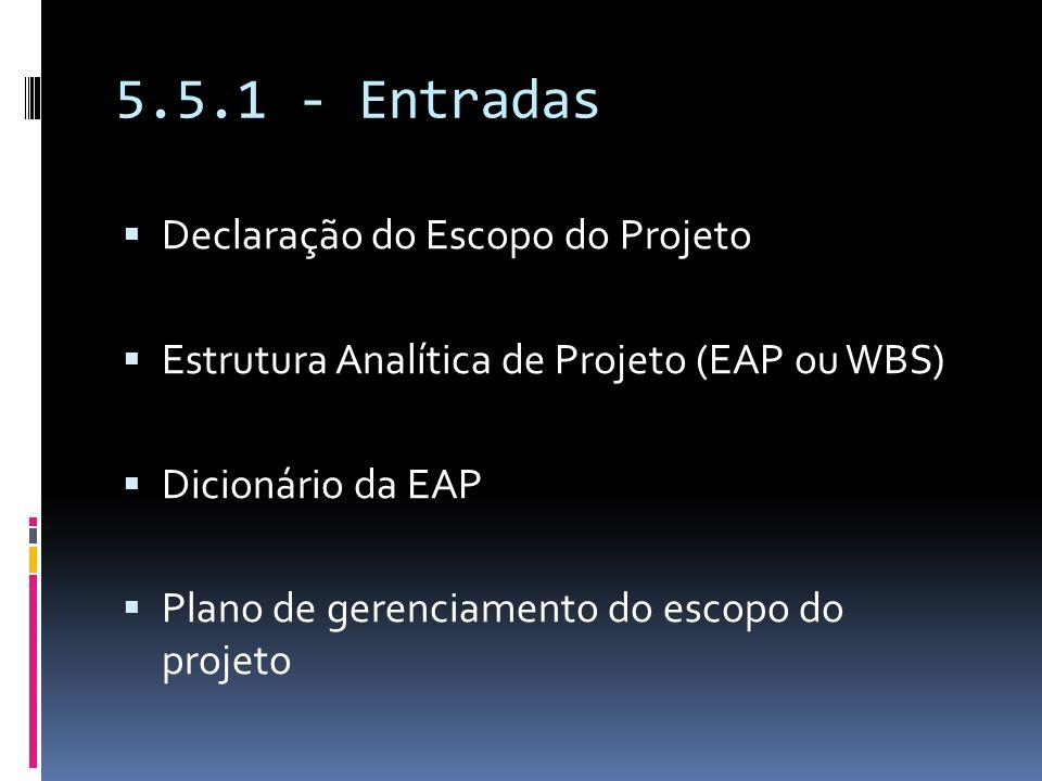 5.5.1 - Entradas Declaração do Escopo do Projeto