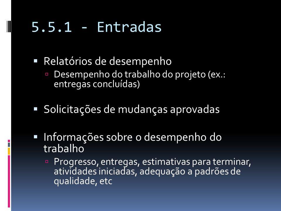 5.5.1 - Entradas Relatórios de desempenho
