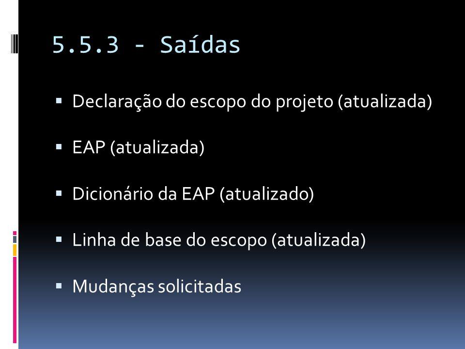 5.5.3 - Saídas Declaração do escopo do projeto (atualizada)