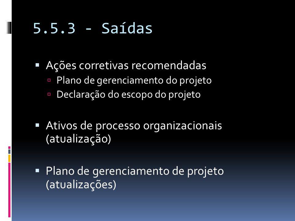 5.5.3 - Saídas Ações corretivas recomendadas