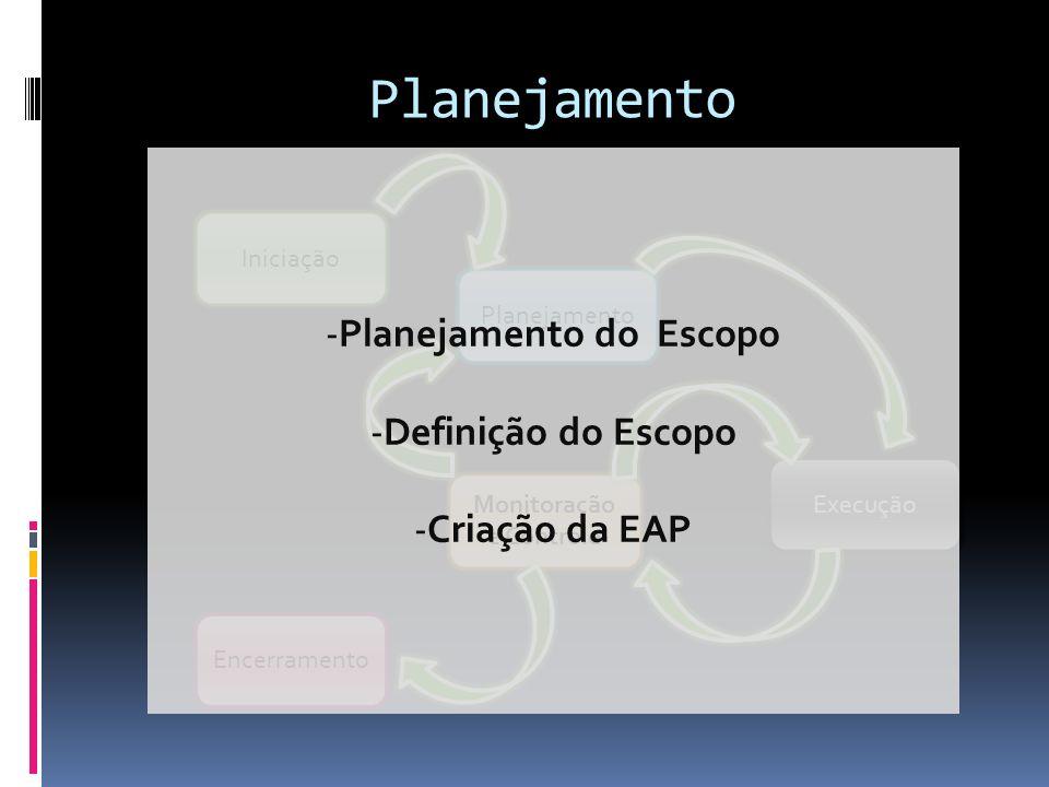 Planejamento do Escopo Monitoração e Controle