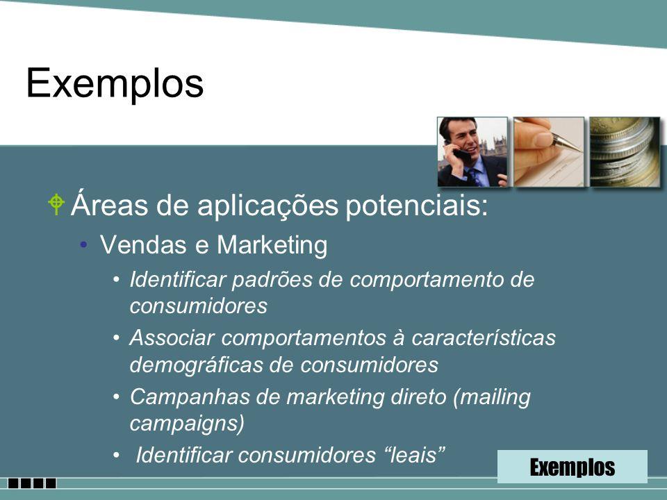 Exemplos Áreas de aplicações potenciais: Vendas e Marketing