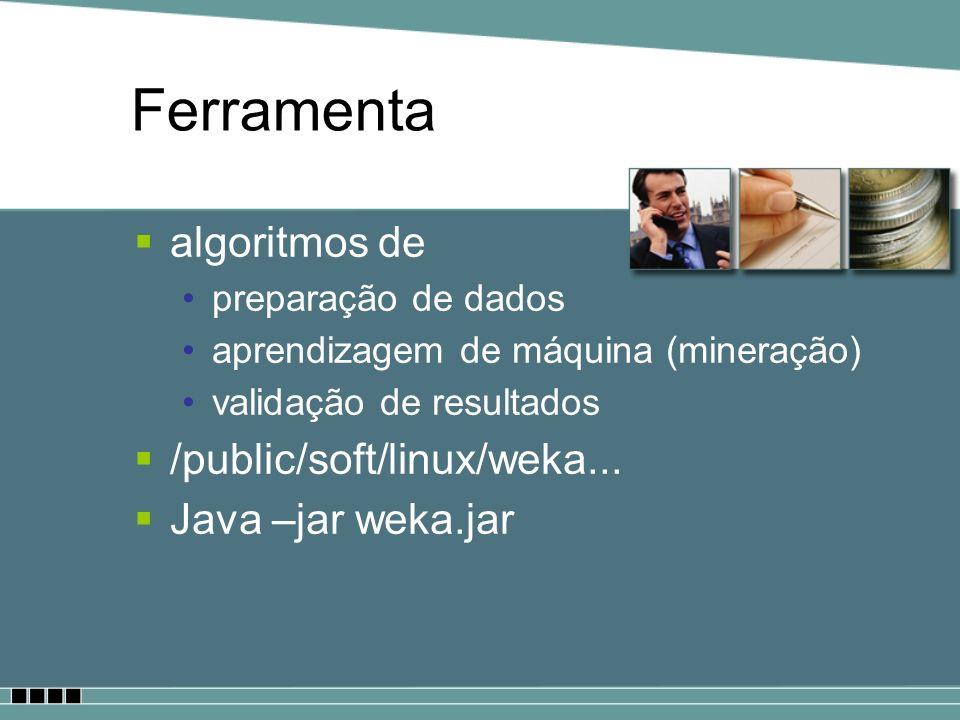 Ferramenta algoritmos de /public/soft/linux/weka... Java –jar weka.jar