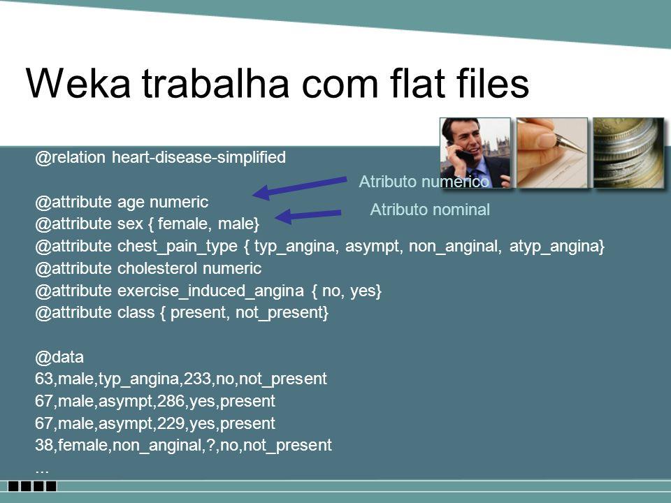 Weka trabalha com flat files