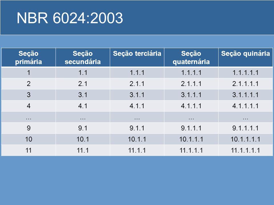 NBR 6024:2003 Regras gerais de apresentação