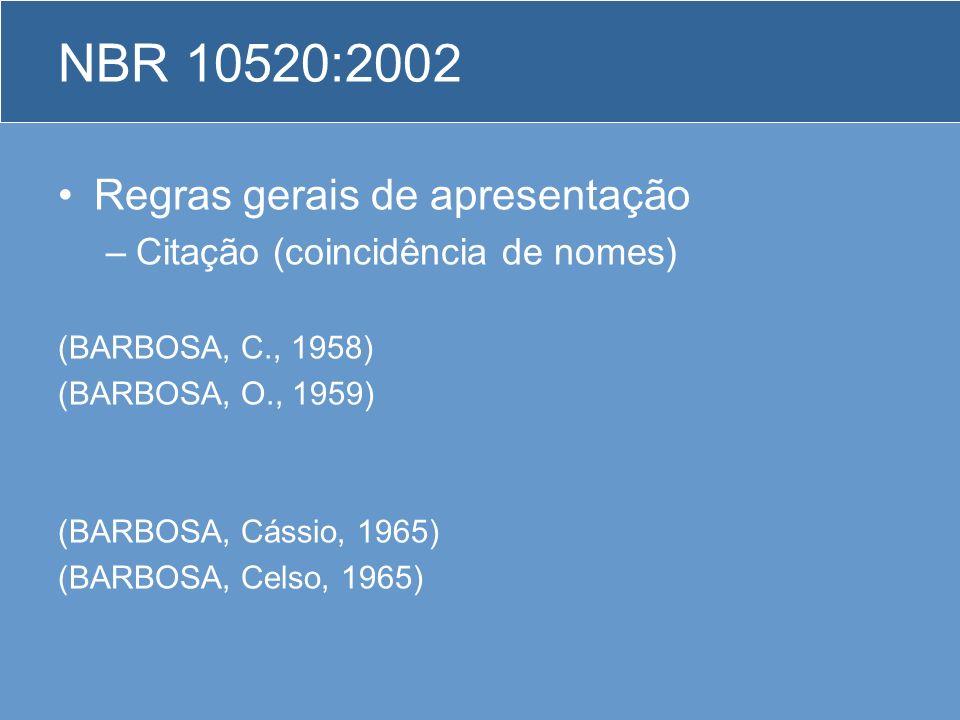 NBR 10520:2002 Regras gerais de apresentação