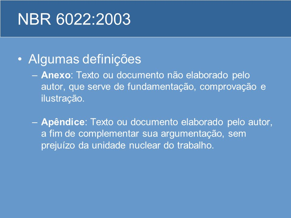 NBR 6022:2003 Algumas definições