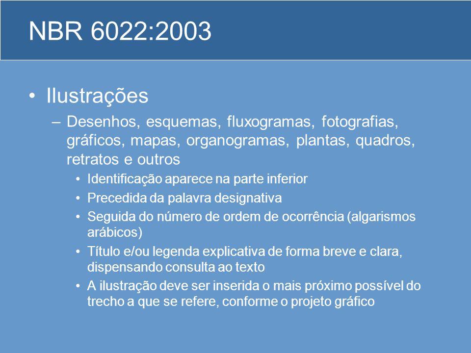 NBR 6022:2003 Ilustrações. Desenhos, esquemas, fluxogramas, fotografias, gráficos, mapas, organogramas, plantas, quadros, retratos e outros.