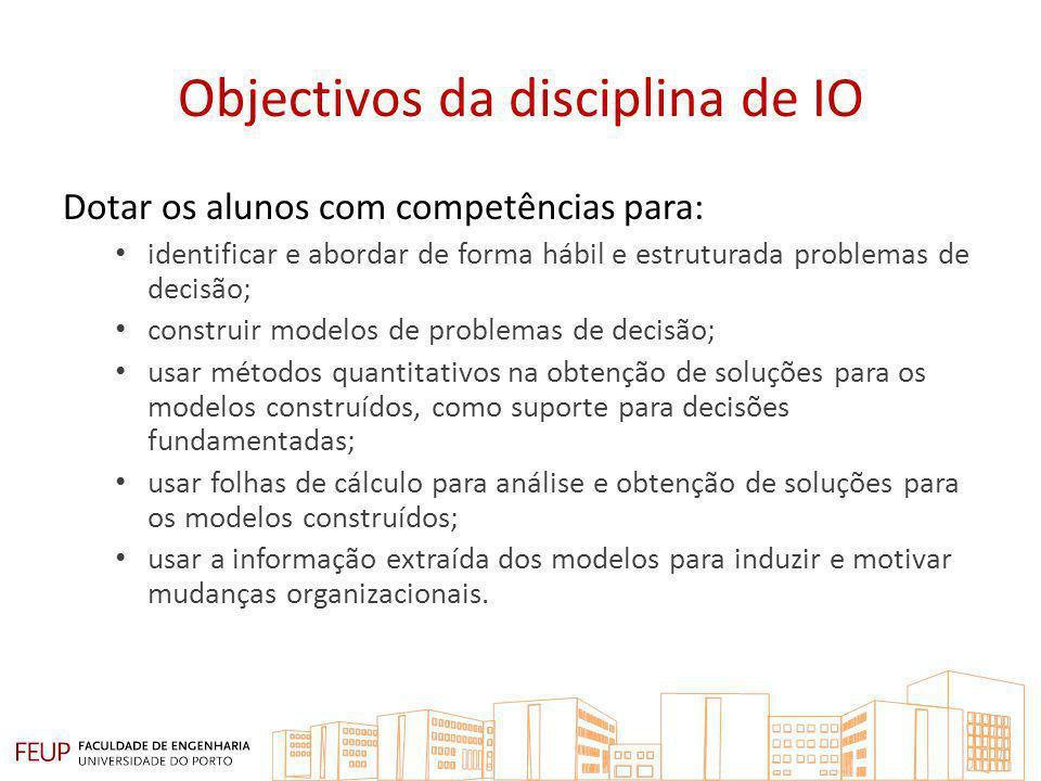 Objectivos da disciplina de IO