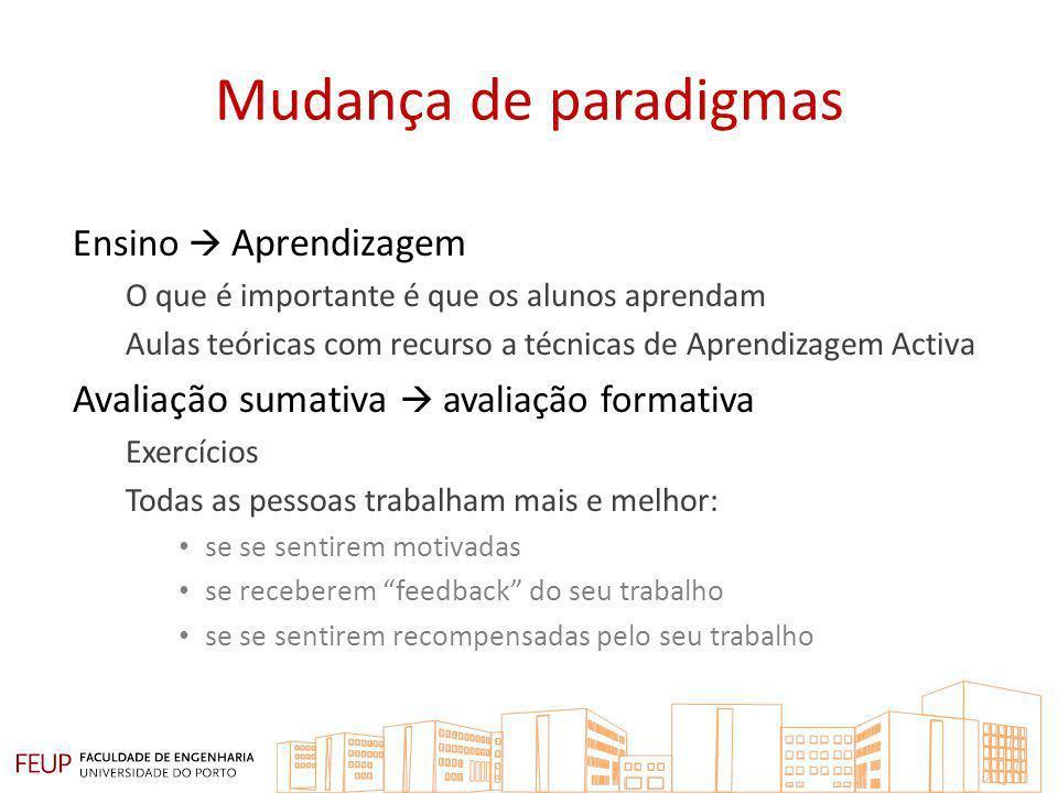 Mudança de paradigmas Avaliação sumativa  avaliação formativa