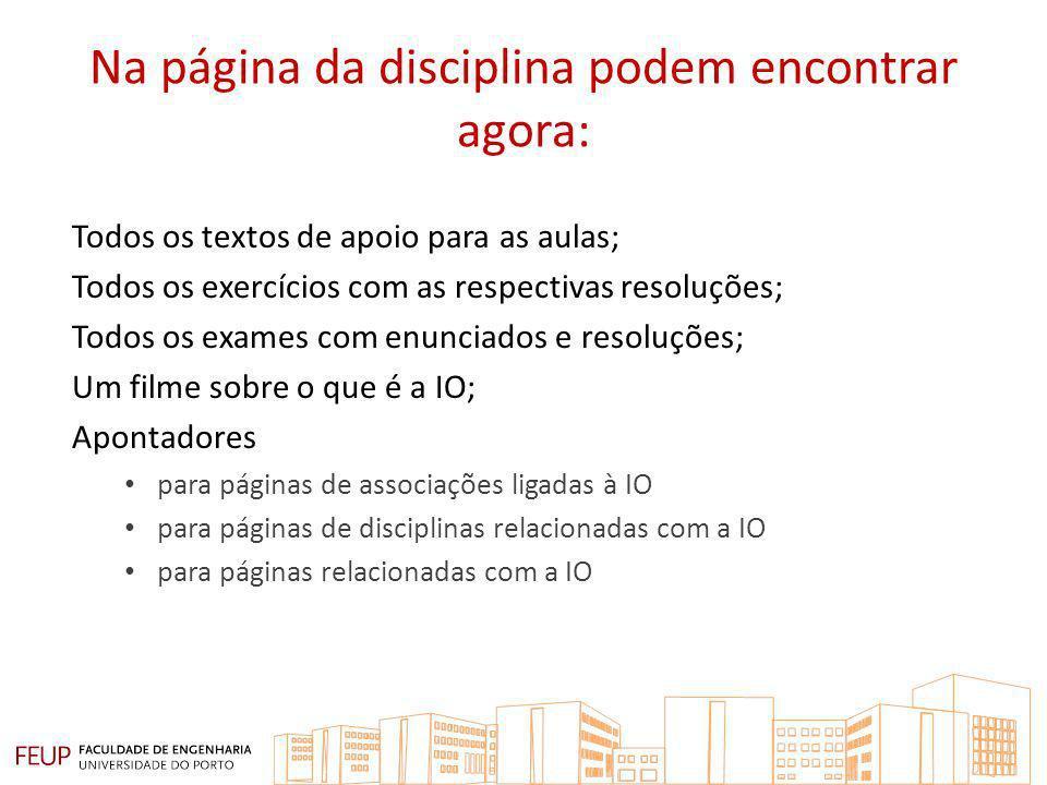 Na página da disciplina podem encontrar agora: