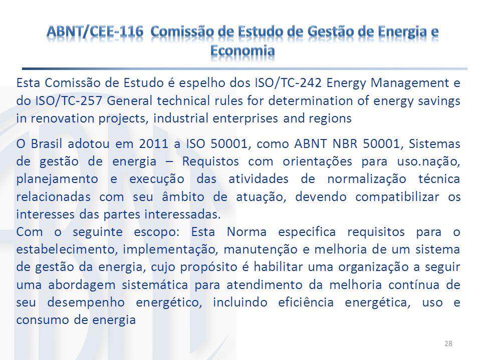 ABNT/CEE-116 Comissão de Estudo de Gestão de Energia e Economia