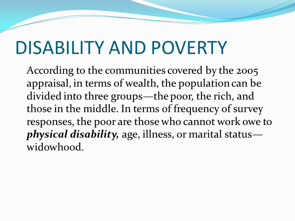 DISABILITY AND POVERTY