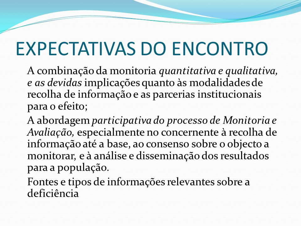 EXPECTATIVAS DO ENCONTRO