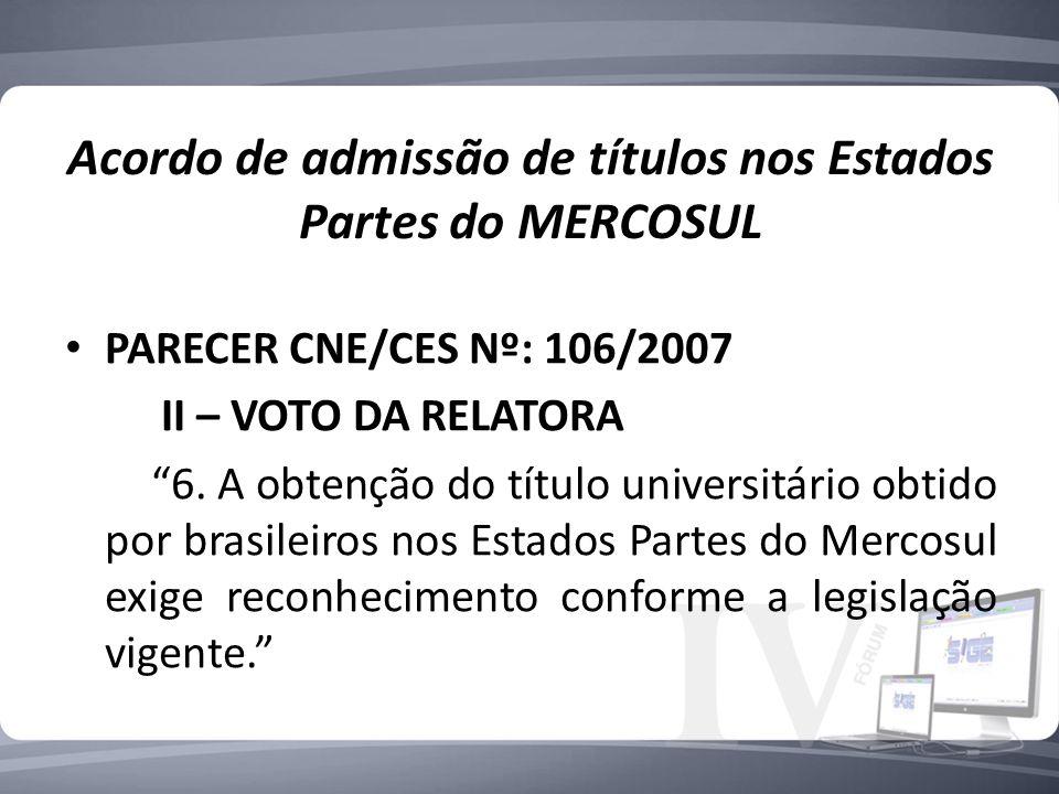 Acordo de admissão de títulos nos Estados Partes do MERCOSUL