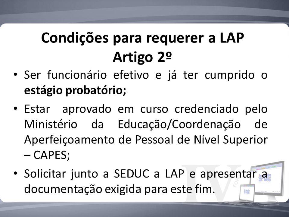 Condições para requerer a LAP Artigo 2º