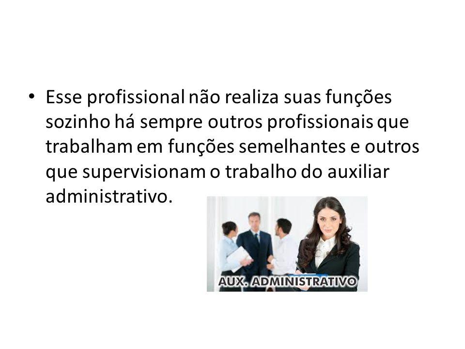 Esse profissional não realiza suas funções sozinho há sempre outros profissionais que trabalham em funções semelhantes e outros que supervisionam o trabalho do auxiliar administrativo.