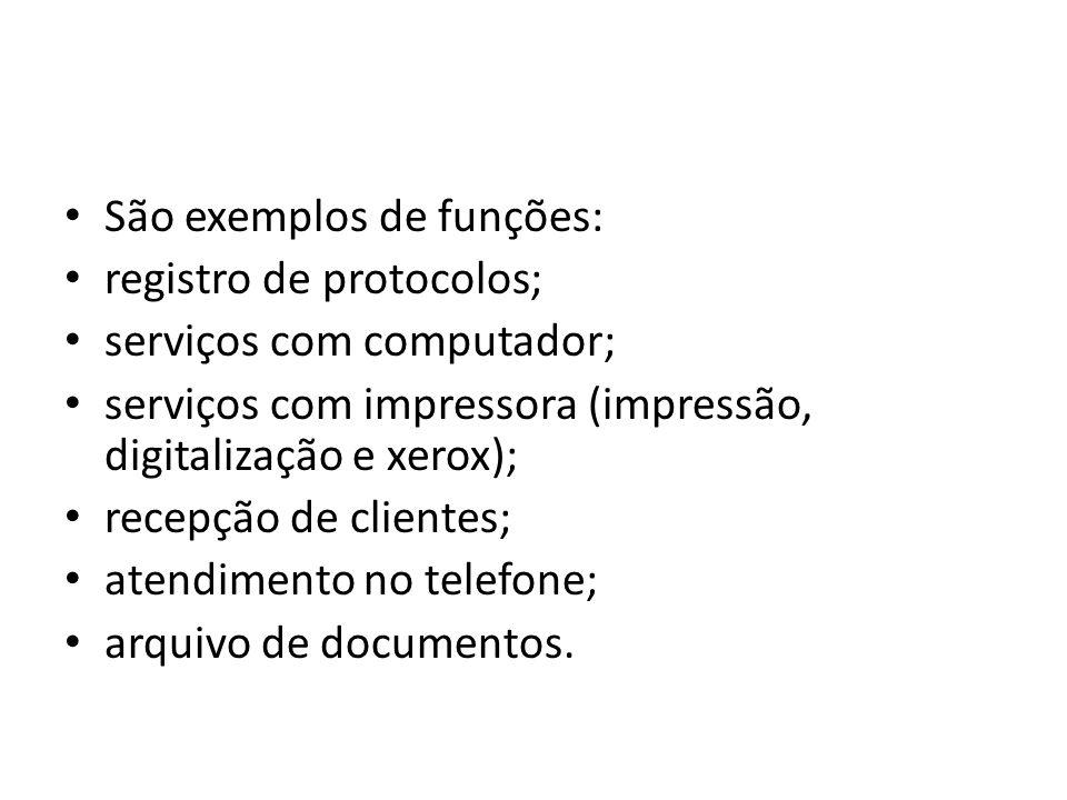 São exemplos de funções: