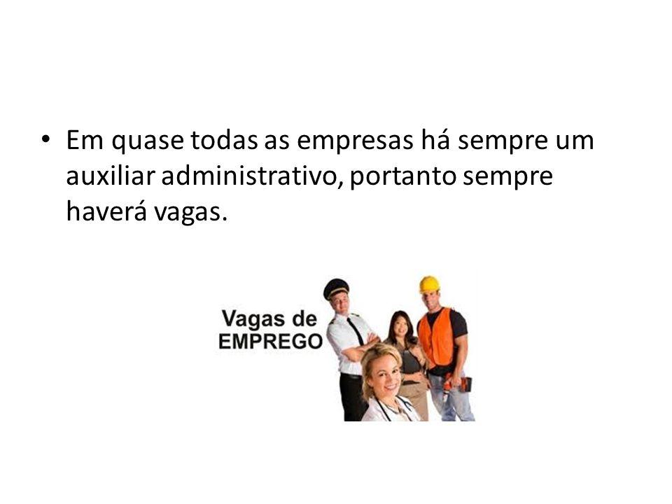 Em quase todas as empresas há sempre um auxiliar administrativo, portanto sempre haverá vagas.
