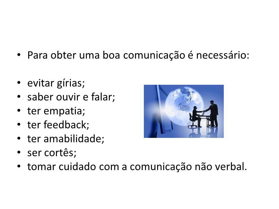 Para obter uma boa comunicação é necessário:
