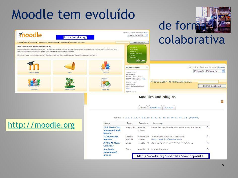 Moodle tem evoluído de forma colaborativa http://moodle.org