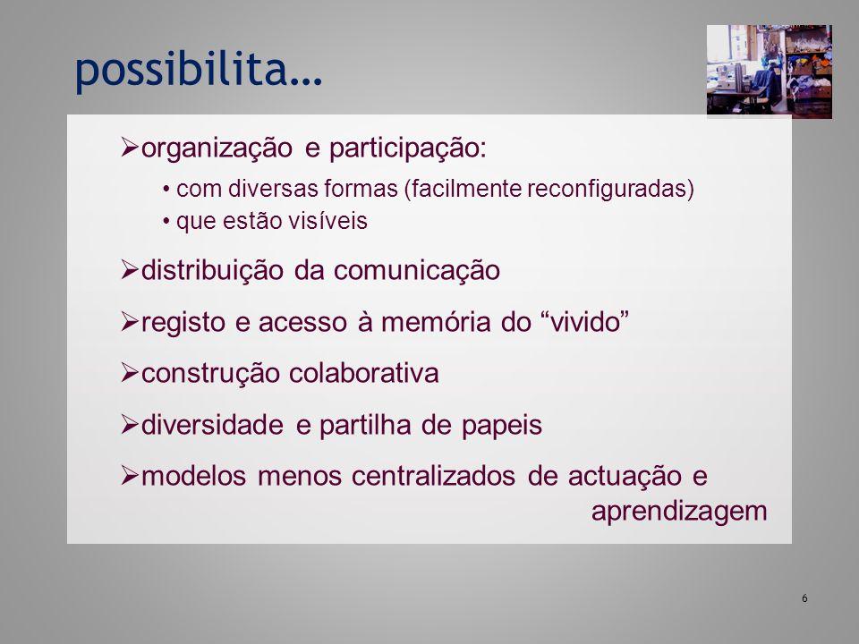 possibilita… organização e participação: distribuição da comunicação