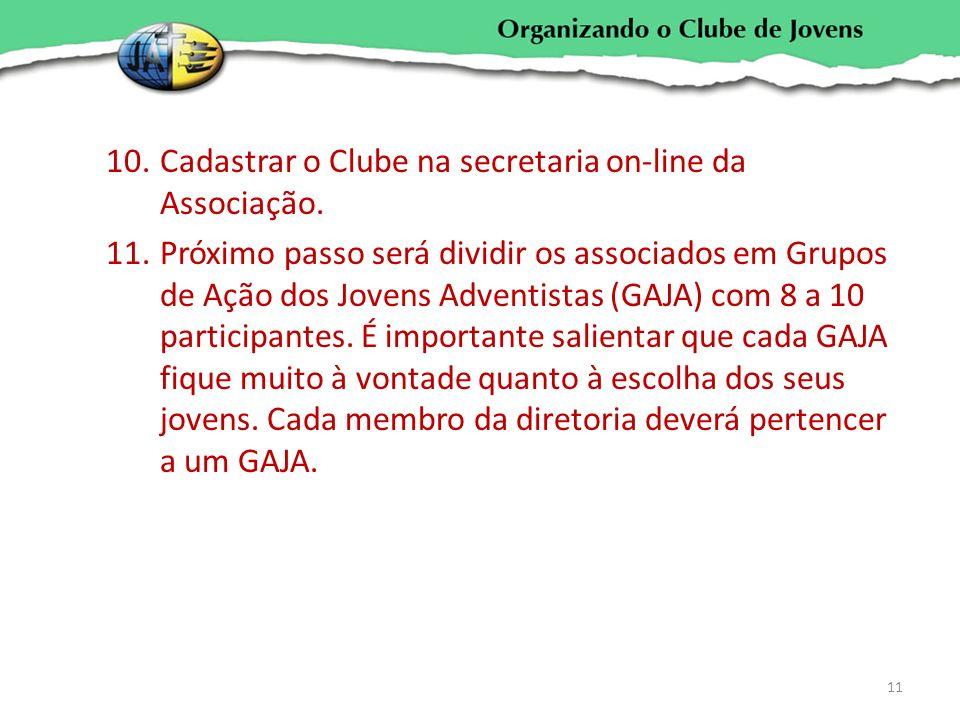 Cadastrar o Clube na secretaria on-line da Associação.