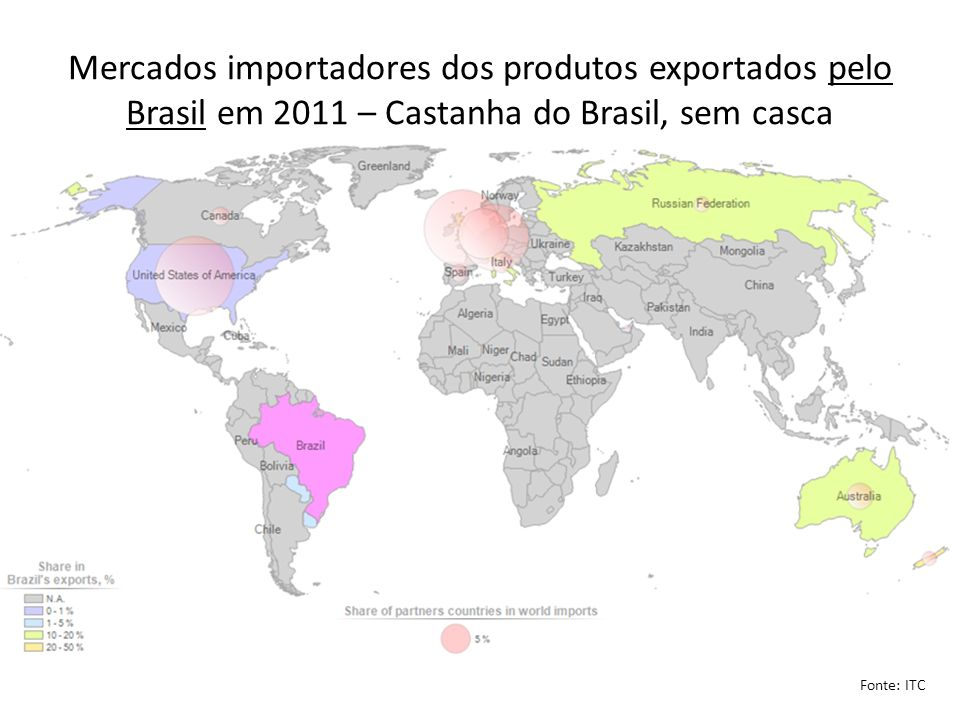 Mercados importadores dos produtos exportados pelo Brasil em 2011 – Castanha do Brasil, sem casca