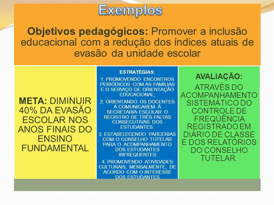 Exemplos Objetivos pedagógicos: Promover a inclusão educacional com a redução dos índices atuais de evasão da unidade escolar.