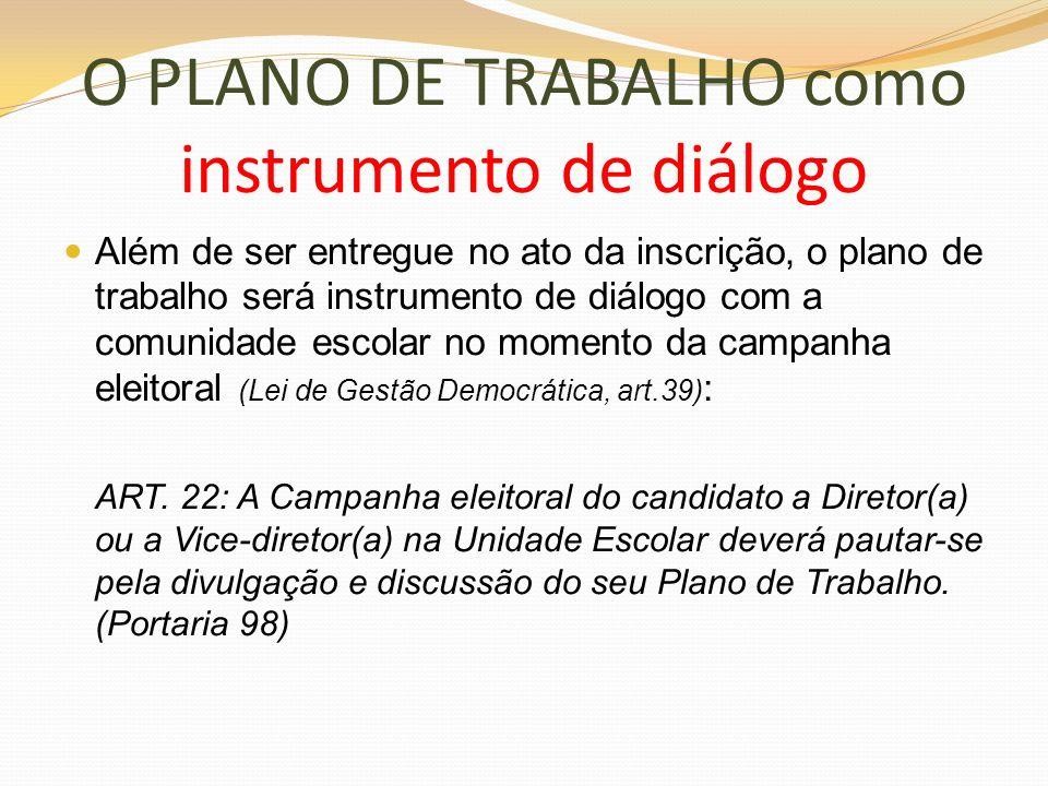O PLANO DE TRABALHO como instrumento de diálogo