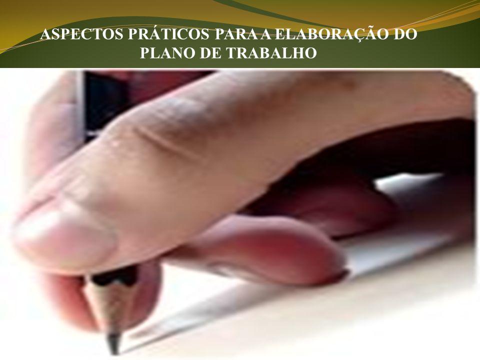 ASPECTOS PRÁTICOS PARA A ELABORAÇÃO DO PLANO DE TRABALHO