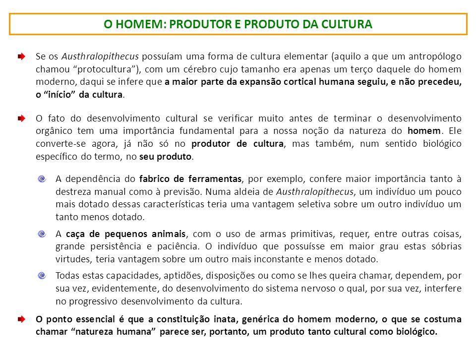 O HOMEM: PRODUTOR E PRODUTO DA CULTURA