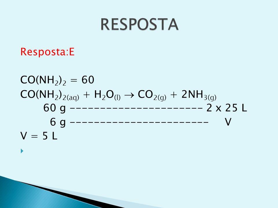 RESPOSTA Resposta:E CO(NH2)2 = 60