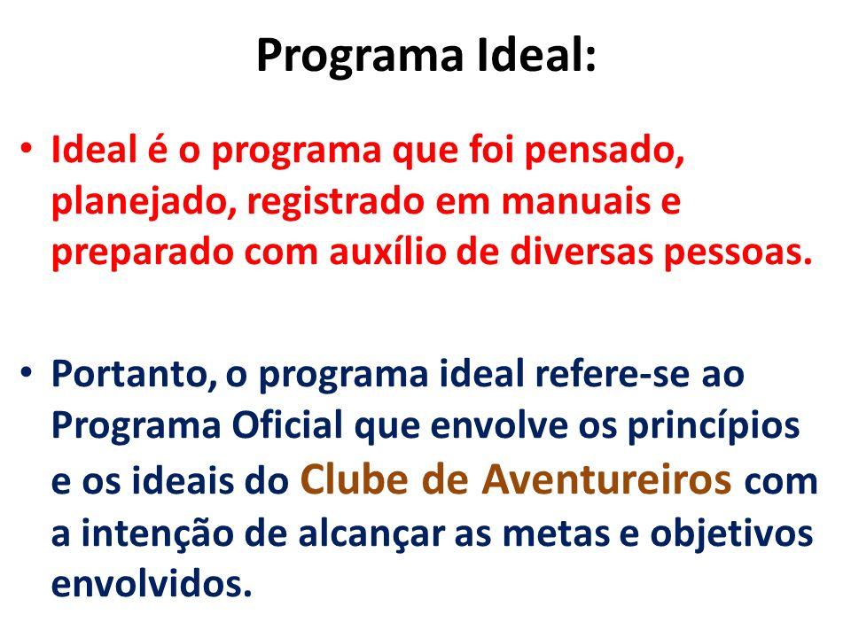 Programa Ideal: Ideal é o programa que foi pensado, planejado, registrado em manuais e preparado com auxílio de diversas pessoas.