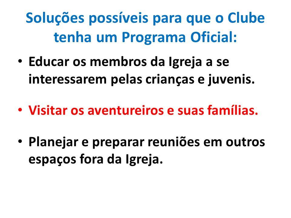 Soluções possíveis para que o Clube tenha um Programa Oficial: