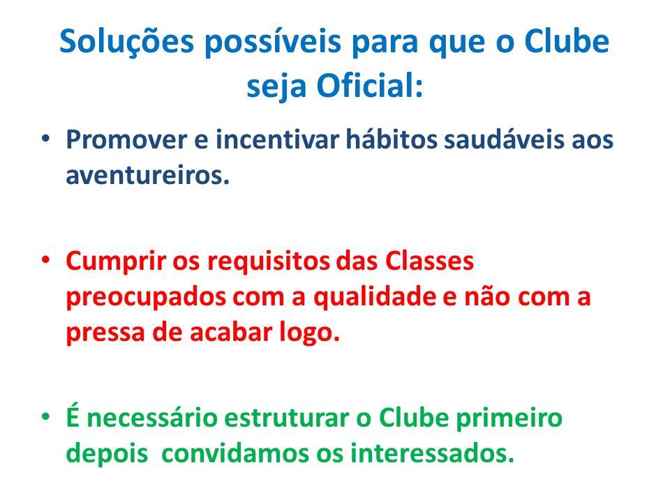 Soluções possíveis para que o Clube seja Oficial: